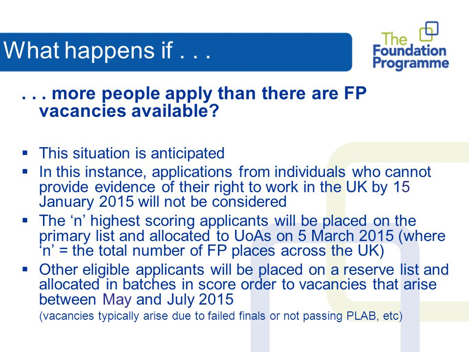What happens if . . . . . . more people apply than there are FP vacancies available This situation is anticipated.