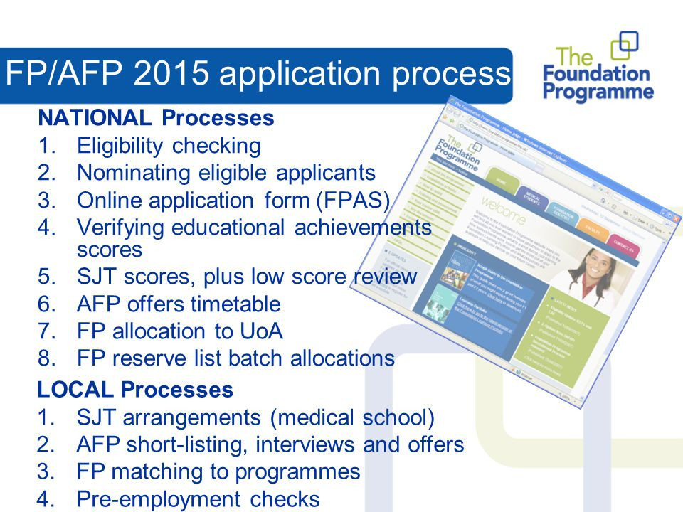 FP/AFP 2015 application process