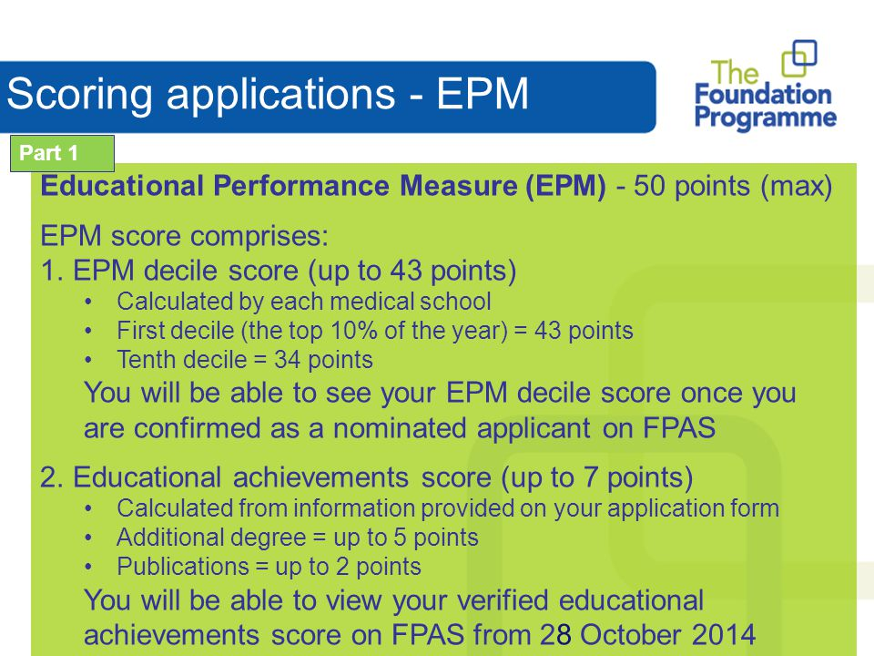 Scoring applications - EPM