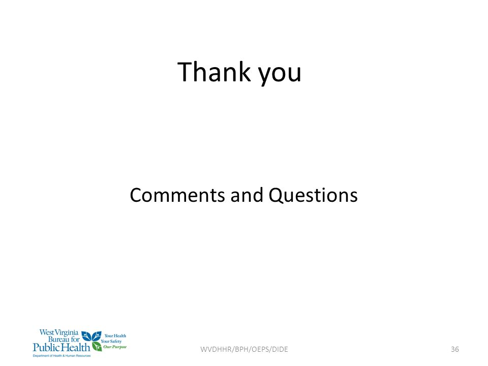 Thank you Comments and Questions WVDHHR/BPH/OEPS/DIDE