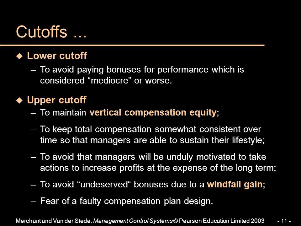 Cutoffs ... Lower cutoff Upper cutoff