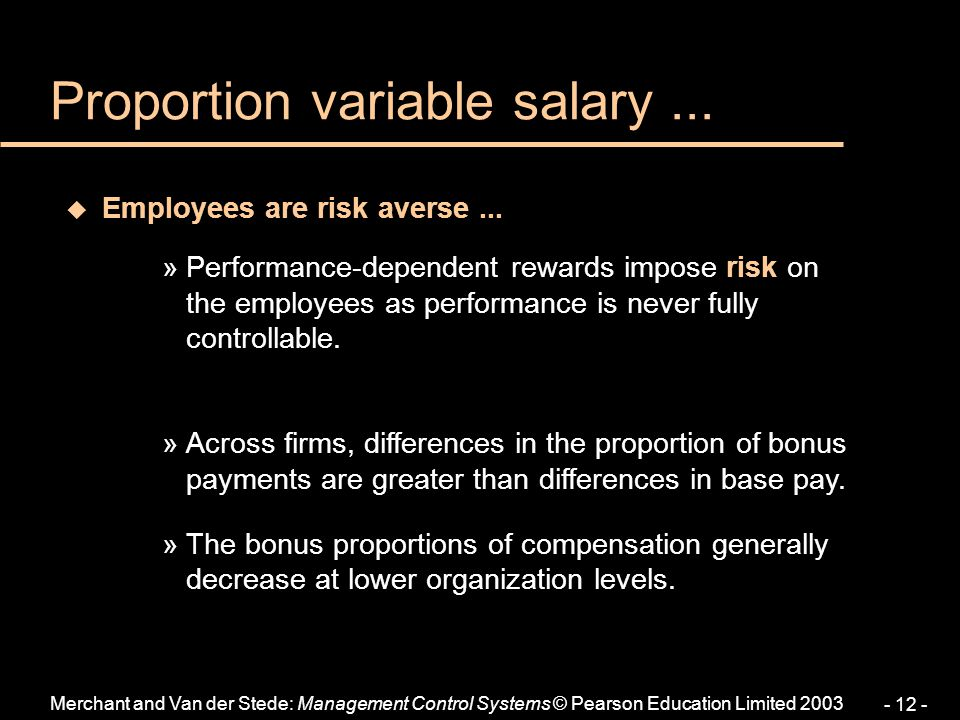 Proportion variable salary ...