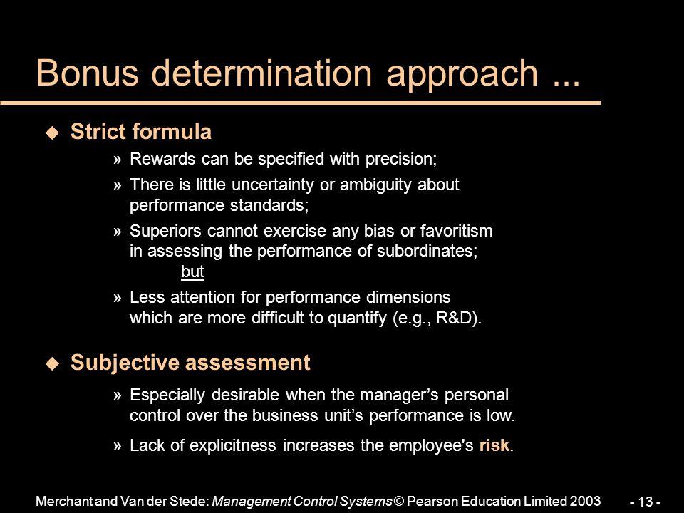 Bonus determination approach ...