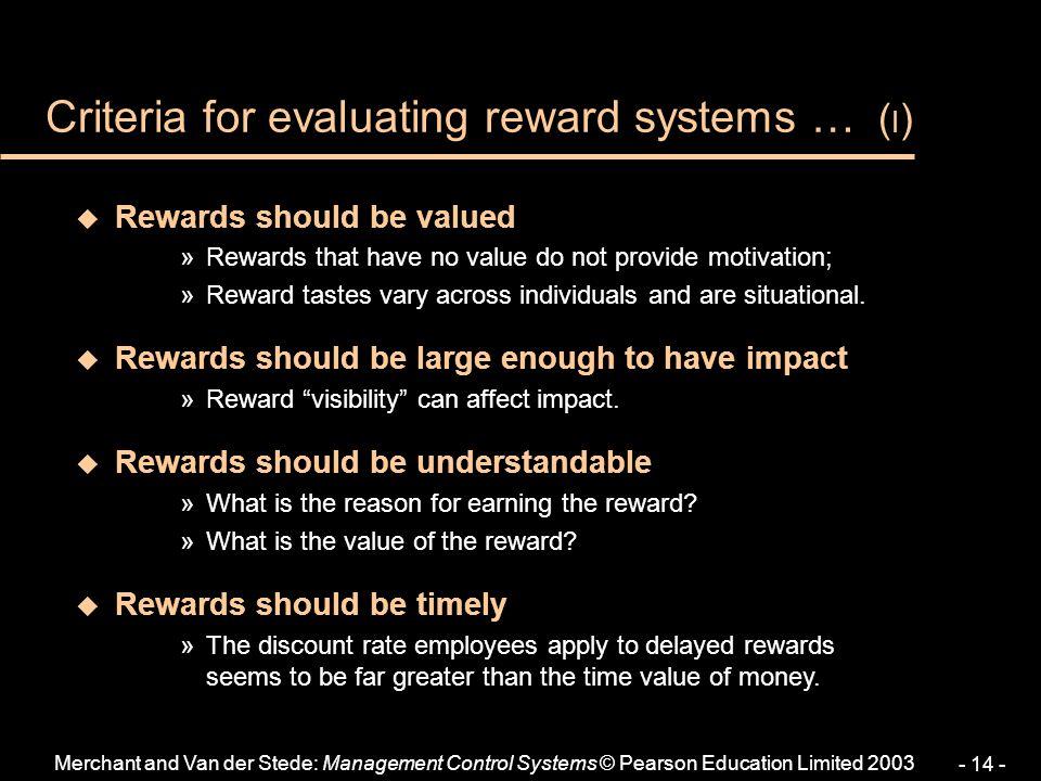 Criteria for evaluating reward systems … (I)