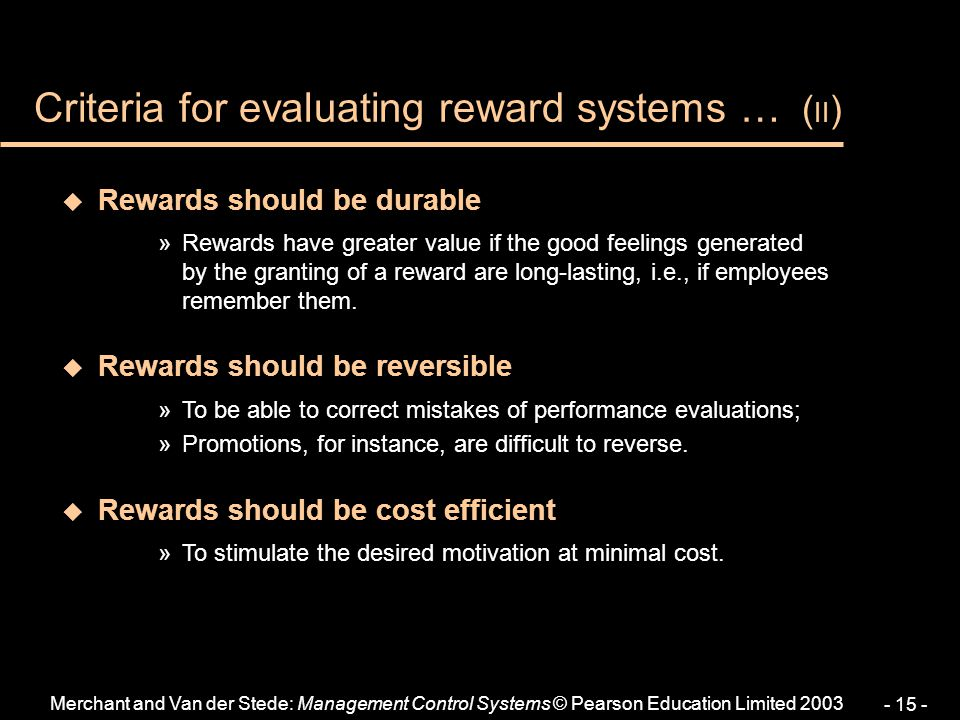 Criteria for evaluating reward systems … (II)