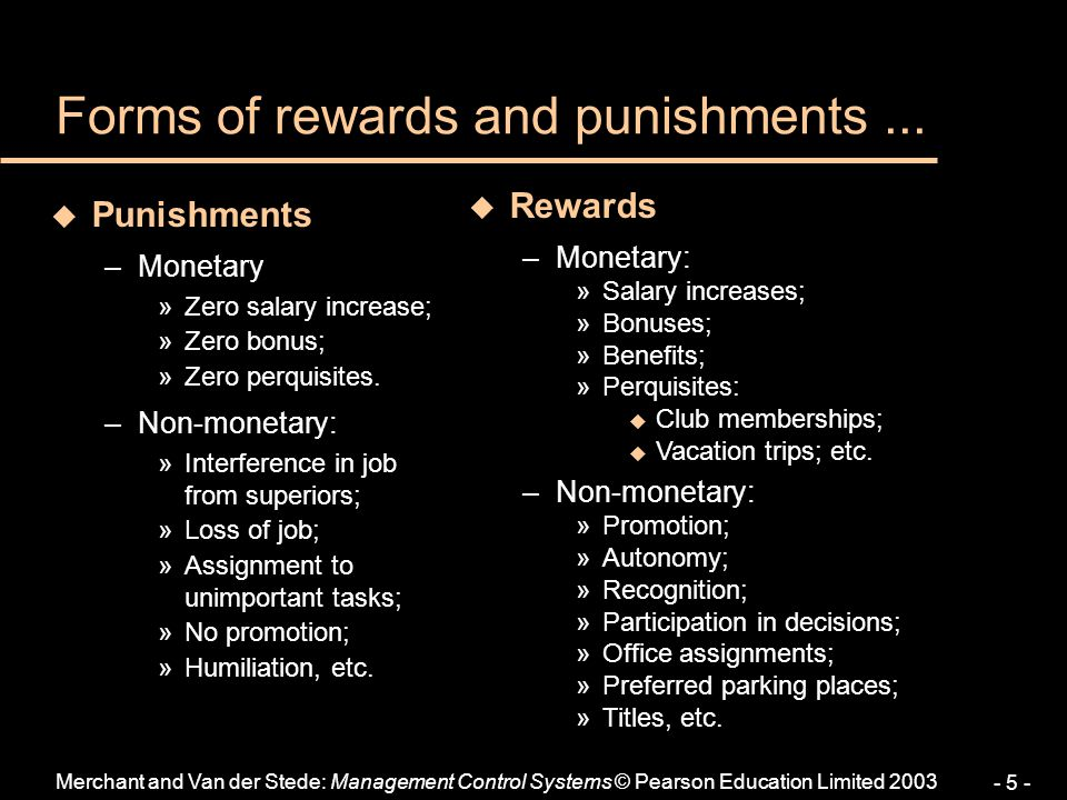 Forms of rewards and punishments ...