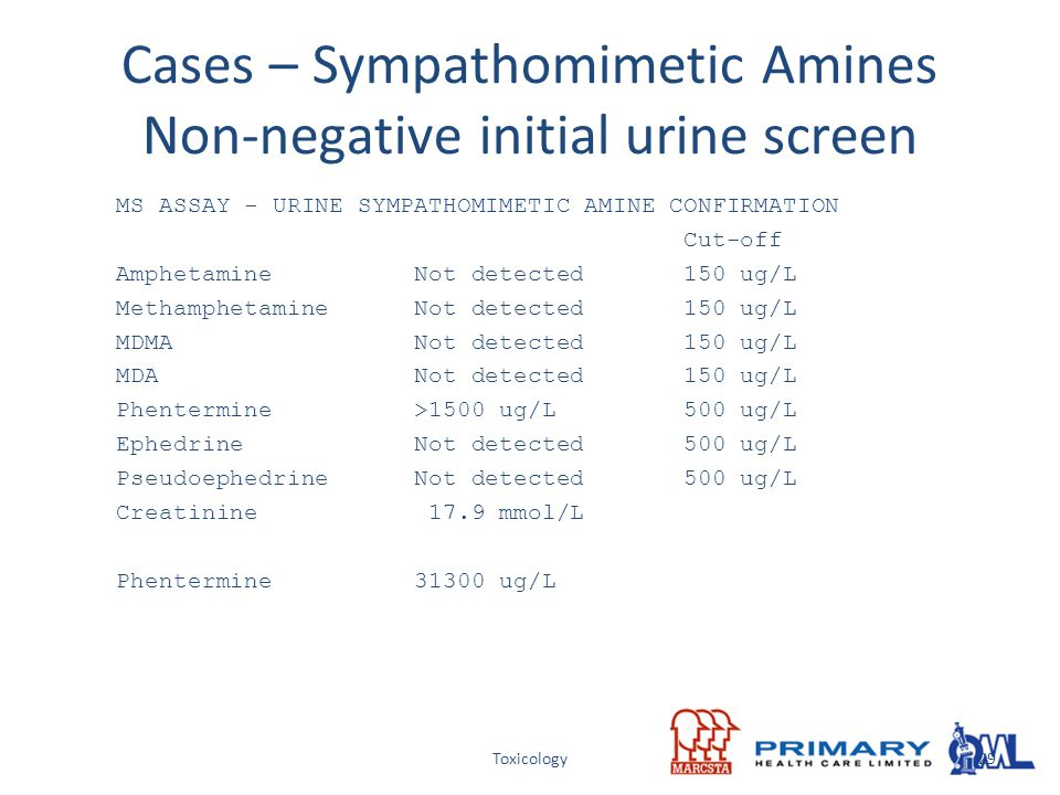 Cases – Sympathomimetic Amines Non-negative initial urine screen