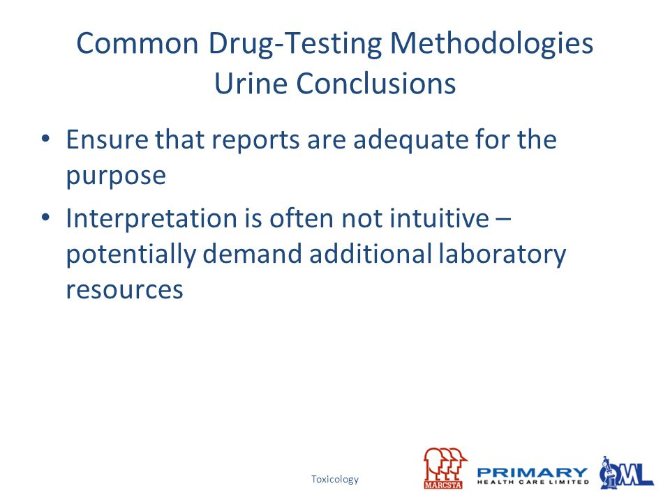 Common Drug-Testing Methodologies Urine Conclusions