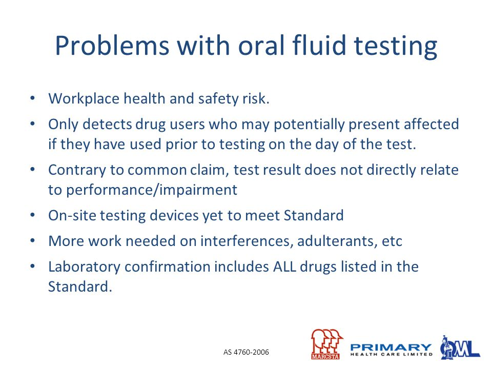 Problems with oral fluid testing