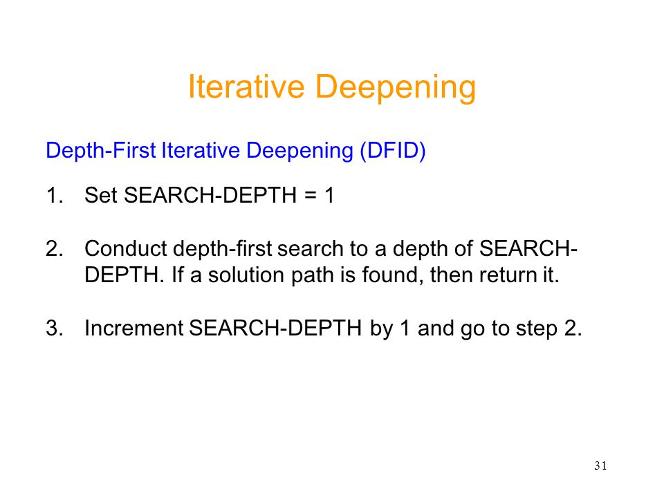 Iterative Deepening Depth-First Iterative Deepening (DFID)