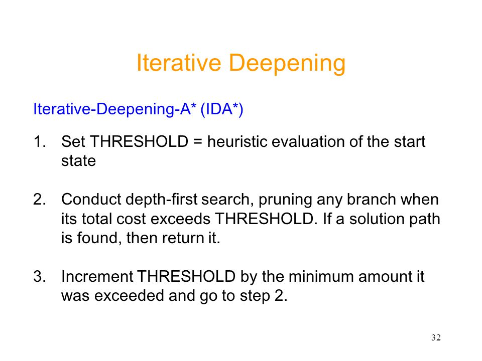 Iterative Deepening Iterative-Deepening-A* (IDA*)