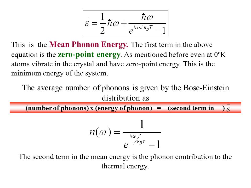(number of phonons) x (energy of phonon) = (second term in )