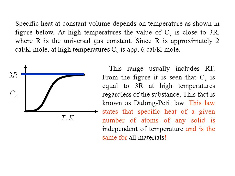 Specific heat at constant volume depends on temperature as shown in figure below. At high temperatures the value of Cv is close to 3R, where R is the universal gas constant. Since R is approximately 2 cal/K-mole, at high temperatures Cv is app. 6 cal/K-mole.