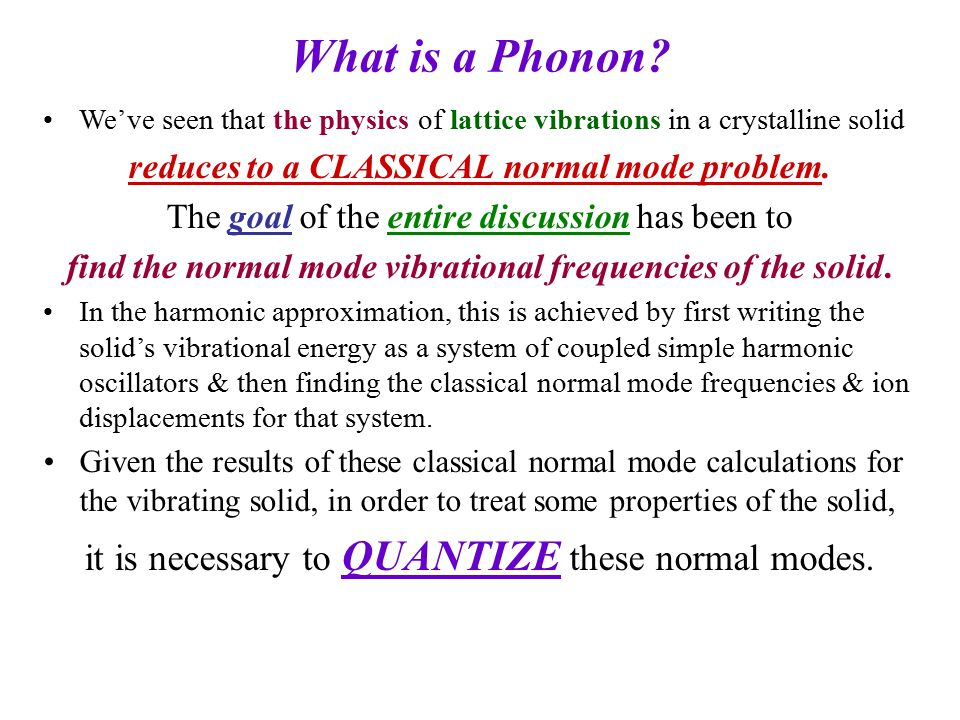 What is a Phonon it is necessary to QUANTIZE these normal modes.