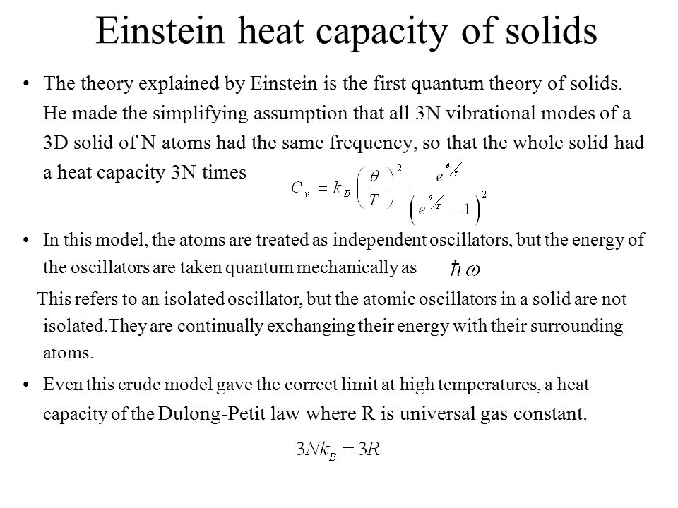 Einstein heat capacity of solids