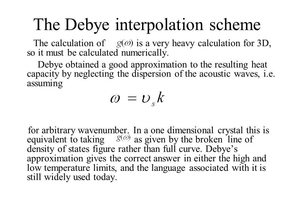The Debye interpolation scheme