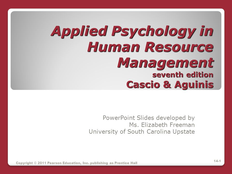Applied Psychology in Human Resource Management seventh edition Cascio & Aguinis
