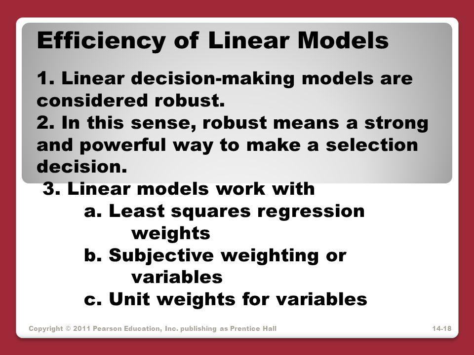Efficiency of Linear Models