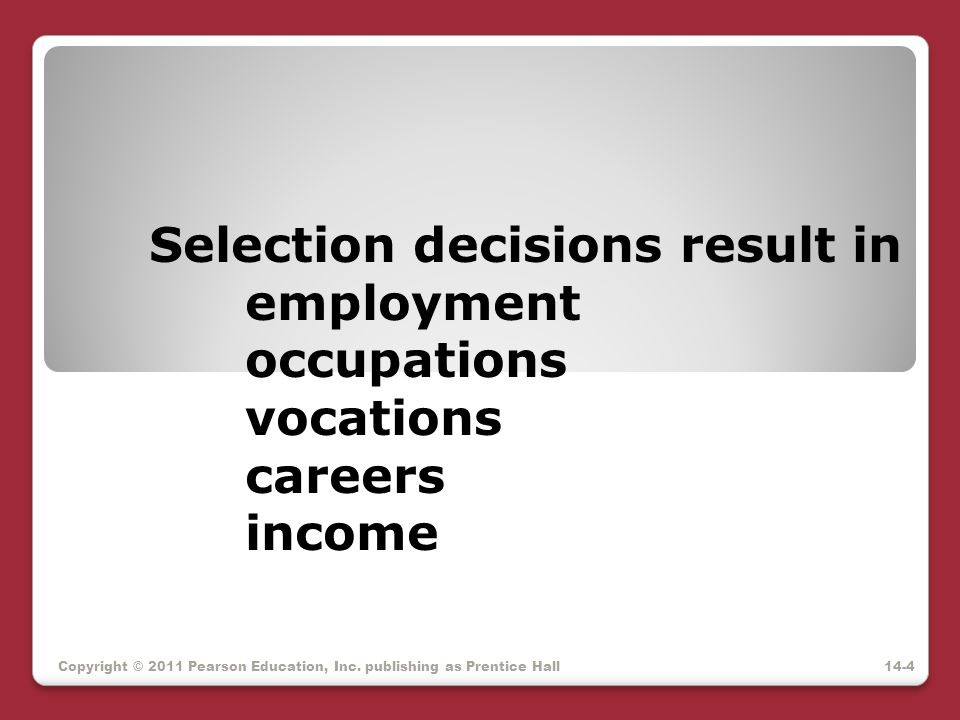 Selection decisions result in. employment. occupations. vocations