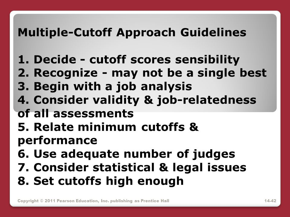 Multiple-Cutoff Approach Guidelines