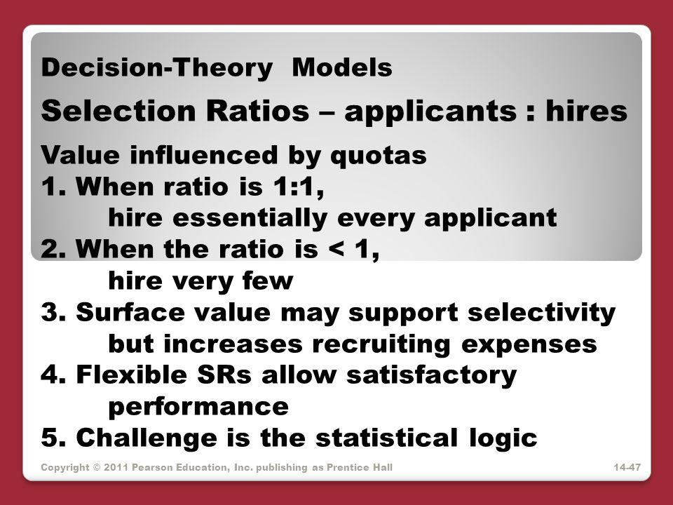 Selection Ratios – applicants : hires