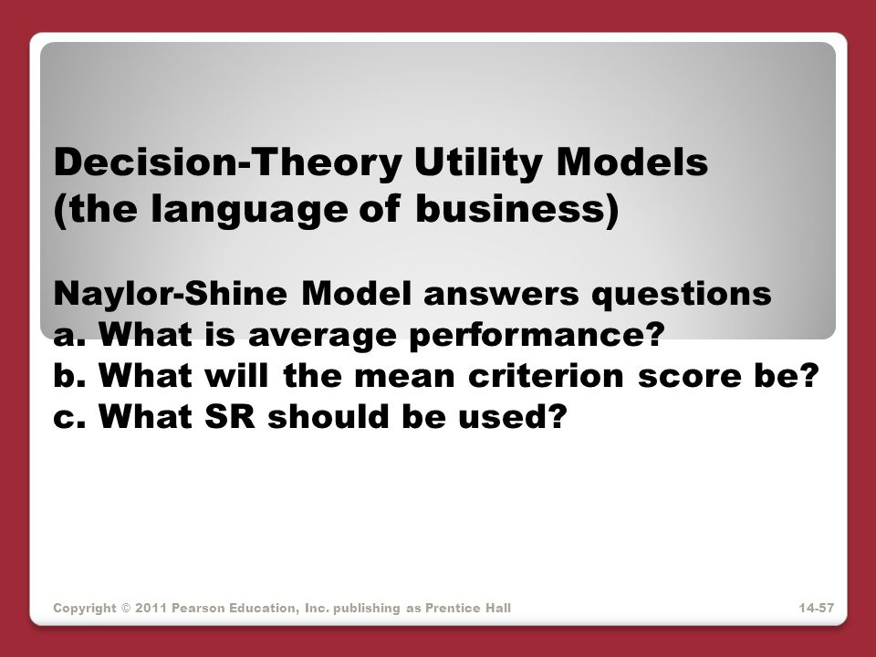 Decision-Theory Utility Models (the language of business)