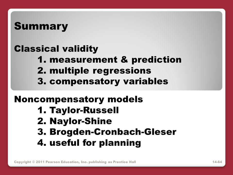 Summary Classical validity 1. measurement & prediction