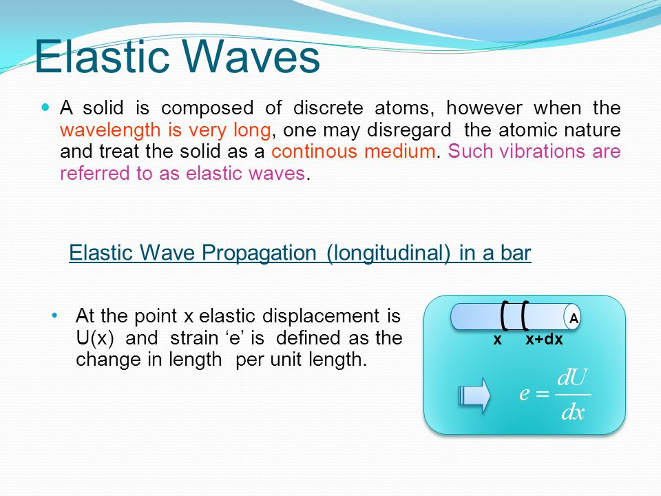 Elastic Waves Elastic Wave Propagation (longitudinal) in a bar