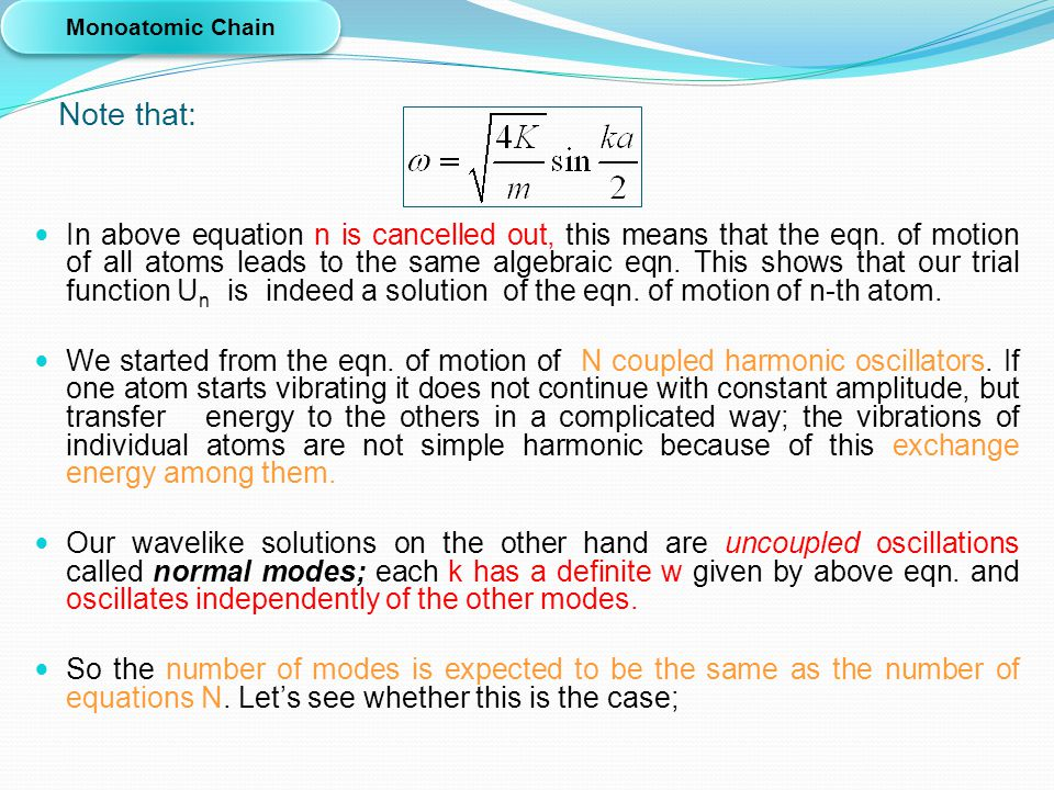 Monoatomic Chain Note that: