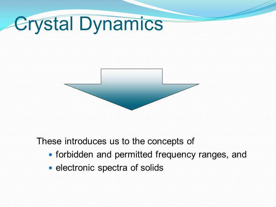 Crystal Dynamics These introduces us to the concepts of