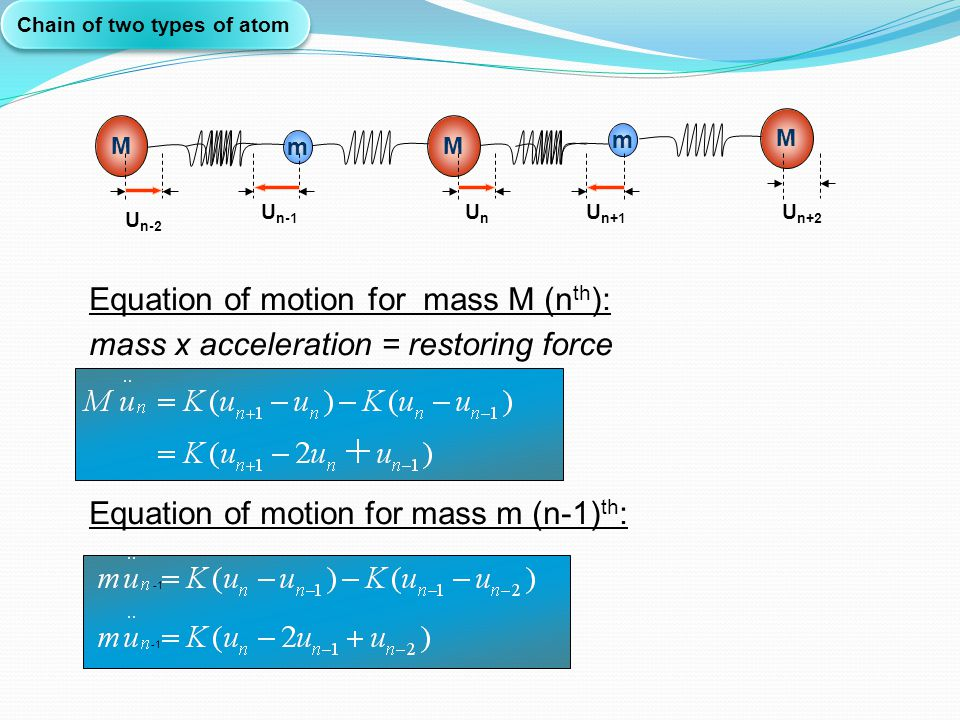 Equation of motion for mass M (nth):