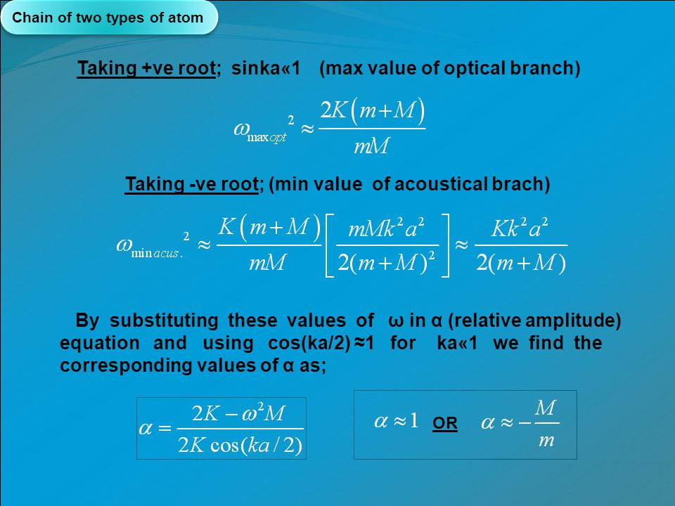 Taking -ve root; (min value of acoustical brach)
