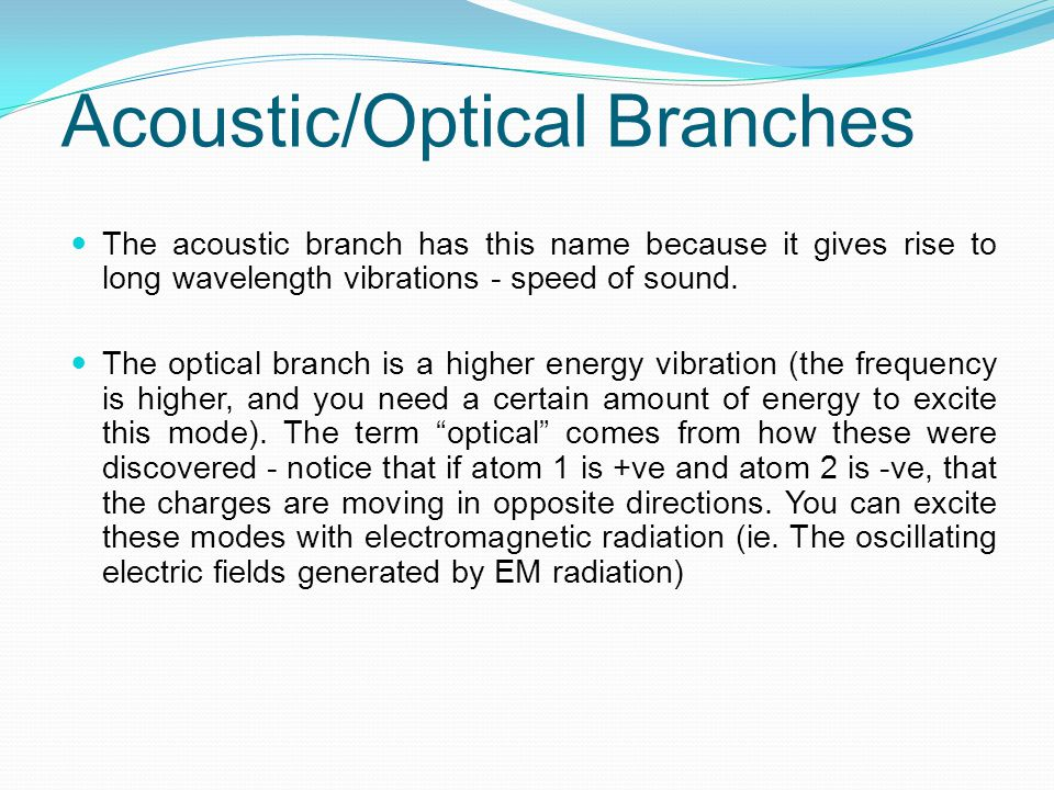 Acoustic/Optical Branches