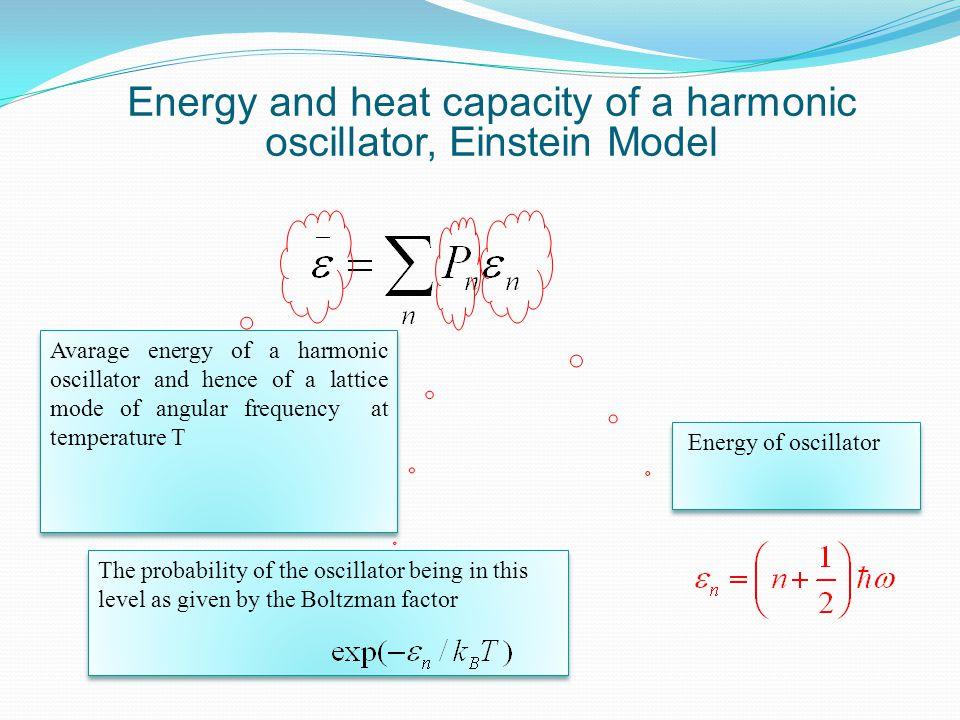 Energy and heat capacity of a harmonic oscillator, Einstein Model