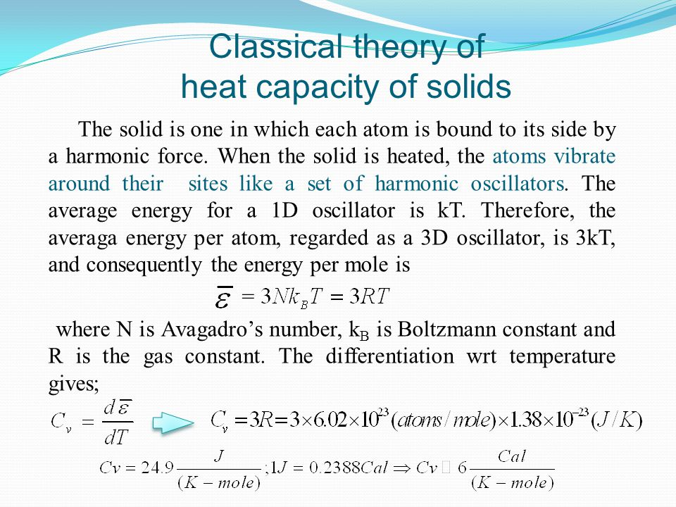 Classical theory of heat capacity of solids