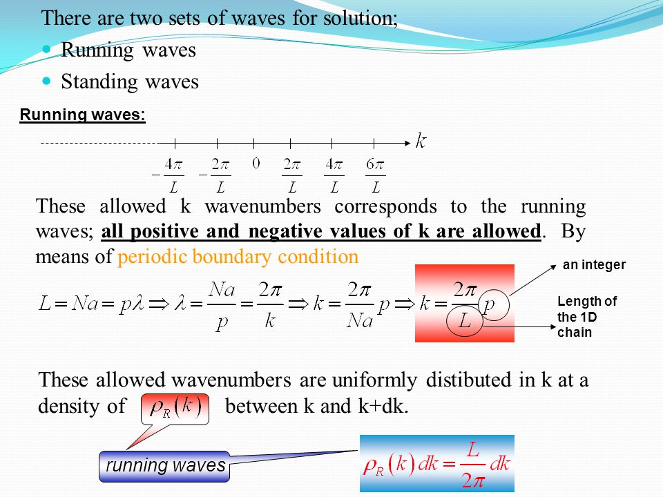 There are two sets of waves for solution; Running waves Standing waves