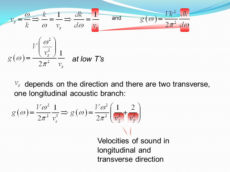 Velocities of sound in longitudinal and transverse direction