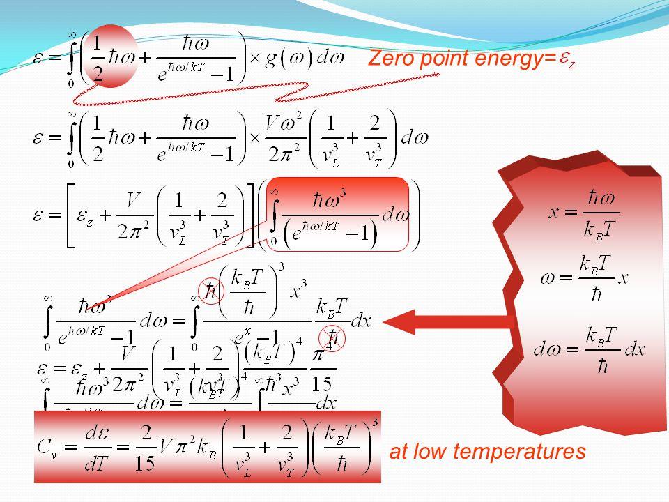 Zero point energy= at low temperatures