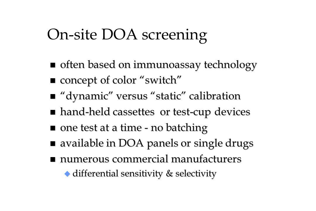 On-site DOA screening often based on immunoassay technology
