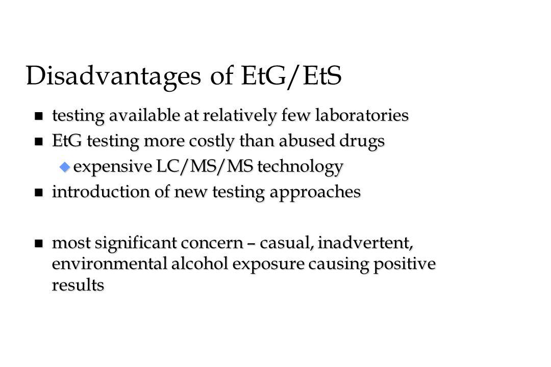 Disadvantages of EtG/EtS