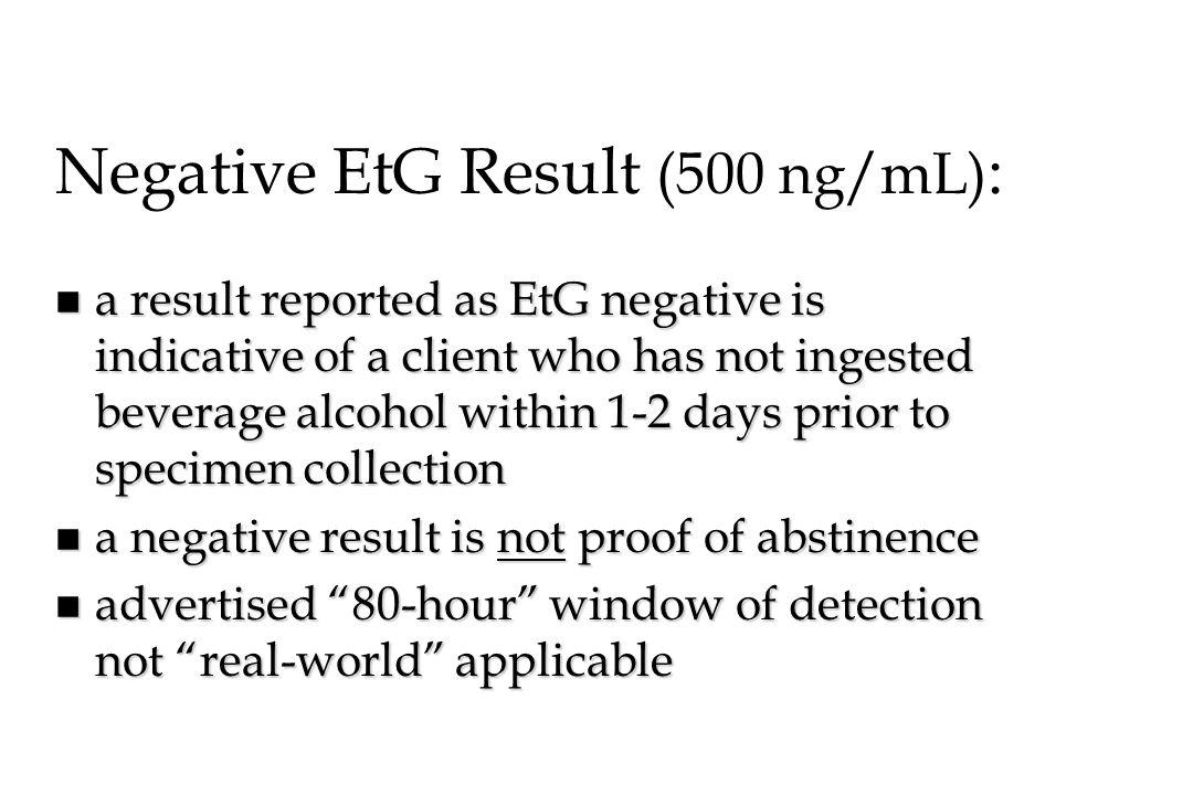 Negative EtG Result (500 ng/mL):
