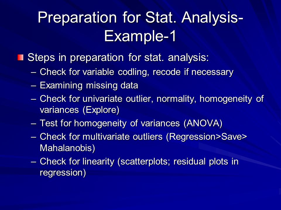 Preparation for Stat. Analysis-Example-1