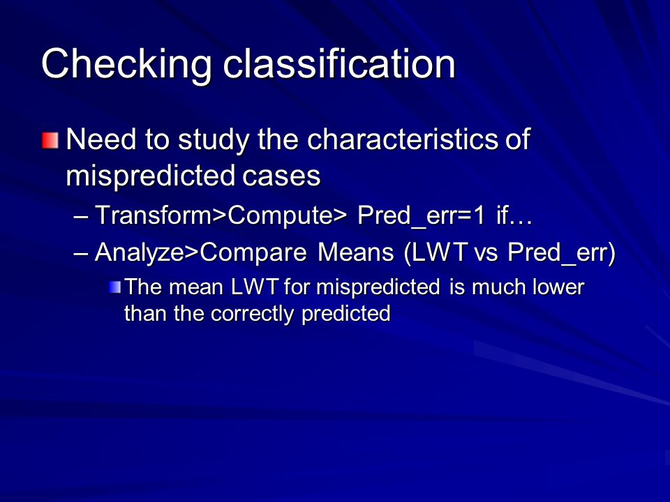 Checking classification