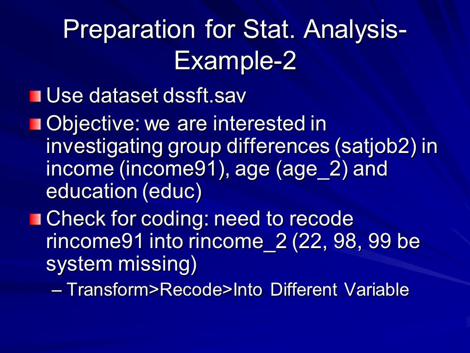 Preparation for Stat. Analysis-Example-2