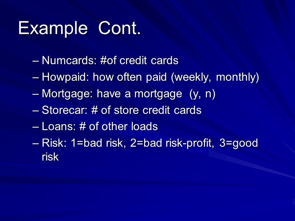 Example Cont. Numcards: #of credit cards