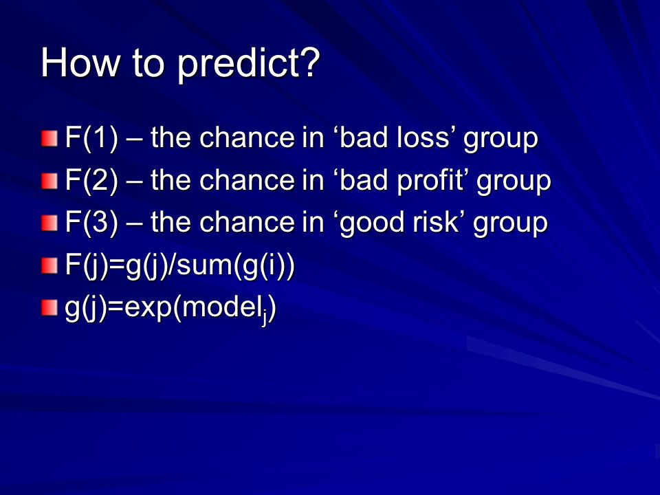 How to predict F(1) – the chance in 'bad loss' group