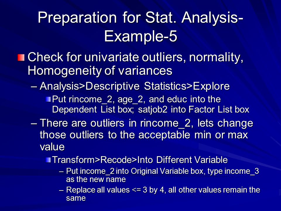 Preparation for Stat. Analysis-Example-5