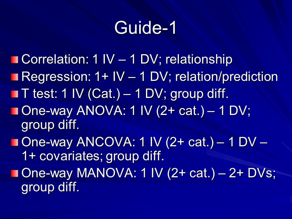 Guide-1 Correlation: 1 IV – 1 DV; relationship