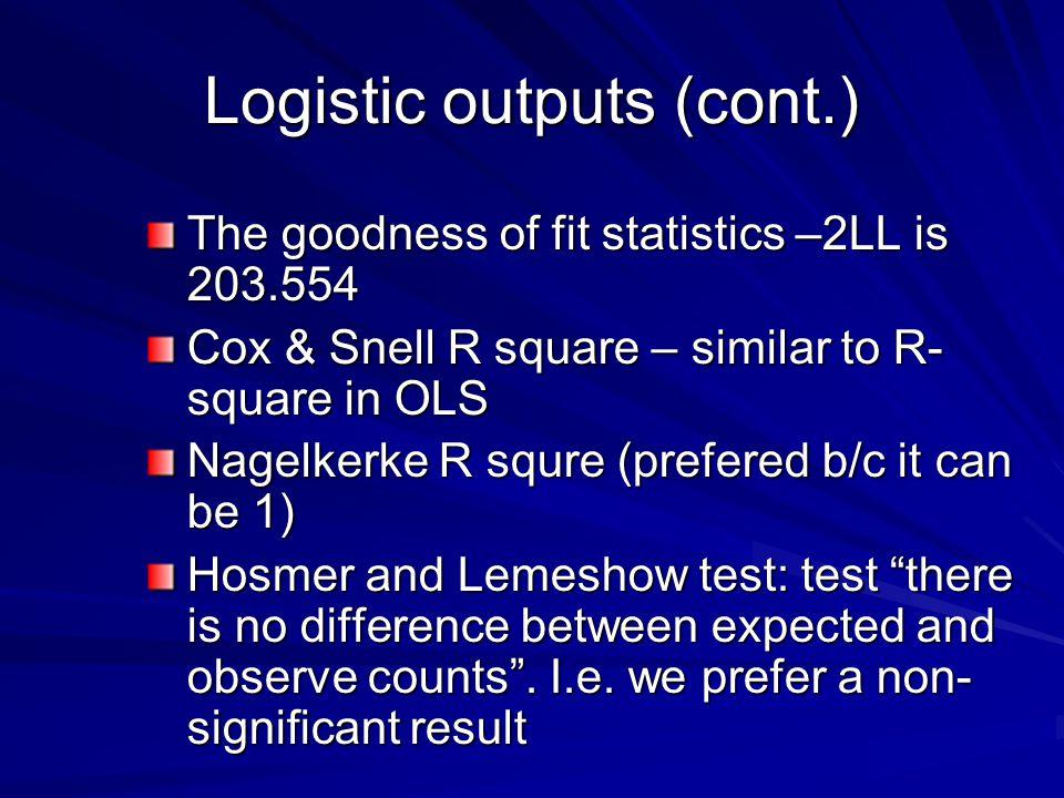 Logistic outputs (cont.)