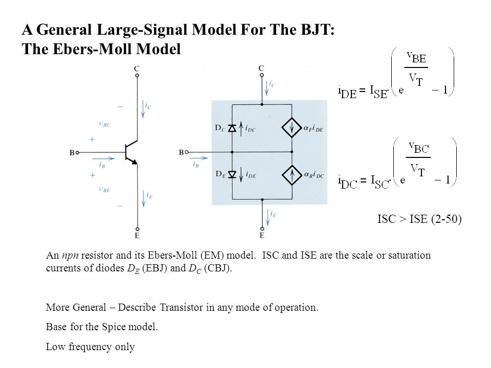 A General Large-Signal Model For The BJT: The Ebers-Moll Model